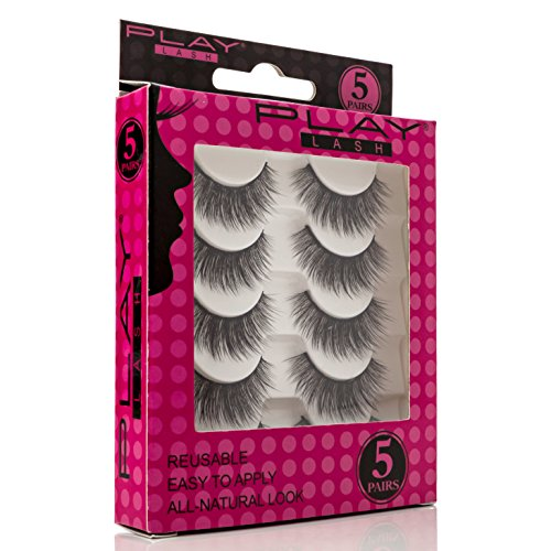 Play Lash | False Eyelashes Set Of 5 Pairs: Easy Application For A Natural And Fabulous Look, Quality Synthetic Fiber Strips For Every Occasion, Parties, Prom, Lightweight And Comfortable - Style S05