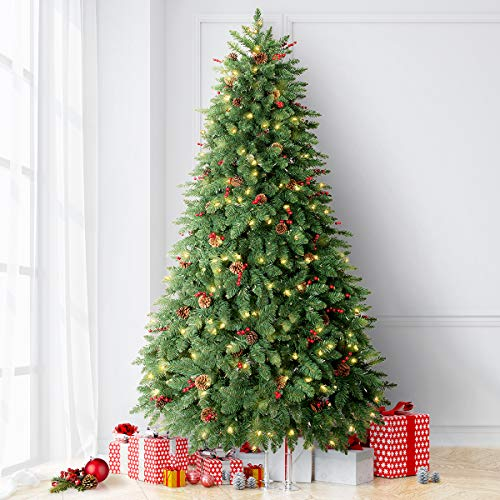 LIFEFAIR 6.5FT Prelit Christmas Tree, Decorated with 450 Clear Lights and Realistic 1520 Thicken Tips