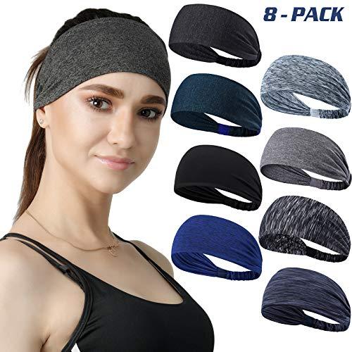 Set of 8 Women's Yoga Sport Athletic Workout Headband for Running Sports Travel Fitness Elastic Wicking Non Slip Lightweight Multi Style Bandana Headbands Headscarf fits All Men and Women