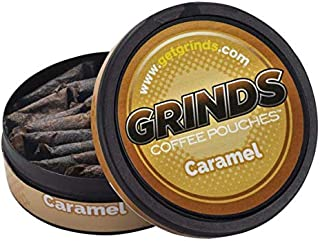 Grinds Coffee Pouches   6 Cans of Caramel   Tobacco Free, Nicotine Free Healthy Alternative   18 Pouches Per Can   1 Pouch...