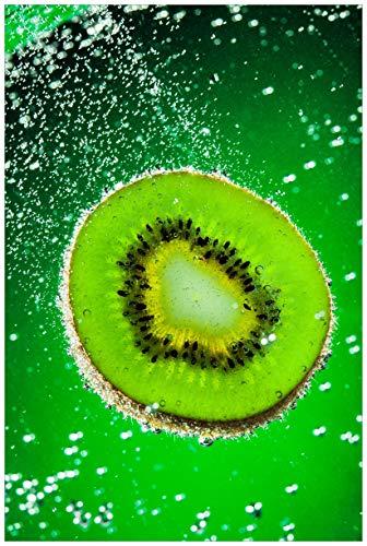 Wallario Acrylglasbild Grüne Kiwi-Scheibe im Wasser - 60 x 90 cm in Premium-Qualität: Brillante Farben, freischwebende Optik