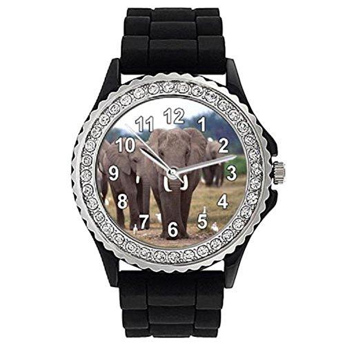 Timest - Elefante - Reloj para Mujer con piedrecillas Pulsera de Silicona CSG018