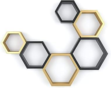 Royal Store Hexagon Shape Set of 6 Floating Wall Shelves All Colours (Standard, Golden & Black)
