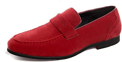 Men's Loafer Flats Penny Loafers for Men Non-slip Round Closed Toe Flat Business Leisure Shoes Smoking Slipper Slip-on Solid Color Suede Upper (Color : Red, Size : 39 EU)