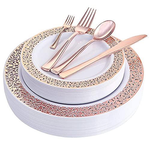 Vajilla desechable 10 vajilla desechable para fiestas de cumpleaños, bodas, restaurantes, platos de plástico chapado en oro (color oro rosa)