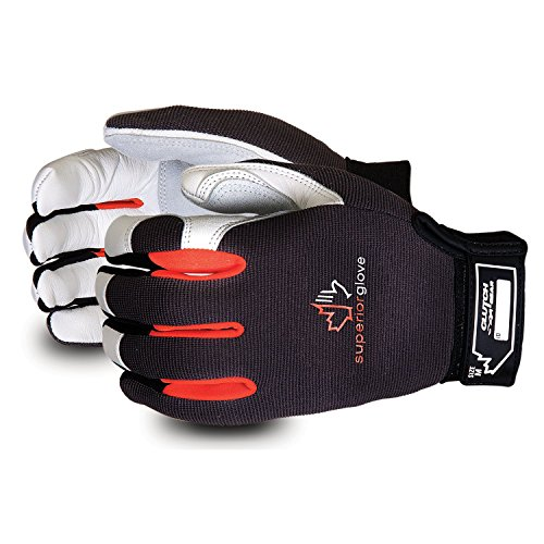 Superior Clutch Gear Grain Goatskin Leather Mechanics Gloves with Thumb Patch - MXGCE - (1 Pair of...