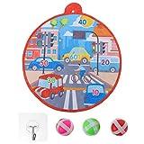 Amosfun 1 juego de diana para tráfico urbano, juego de pelota de velcro, juego con 6 pelotas, juego de pesca para niños, jardín, interior y exterior, juguete deportivo