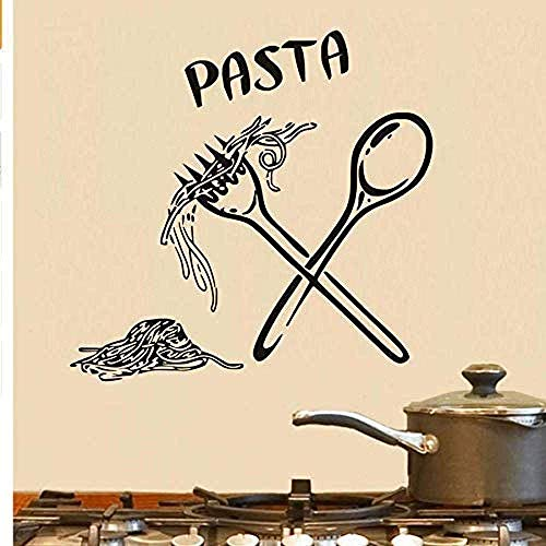 Muursticker muursticker Italiaanse pasta eten maaltijd keuken muur kunst lepel folk café DIY decoratie verwijderbare Decor 60 * 58 Cm
