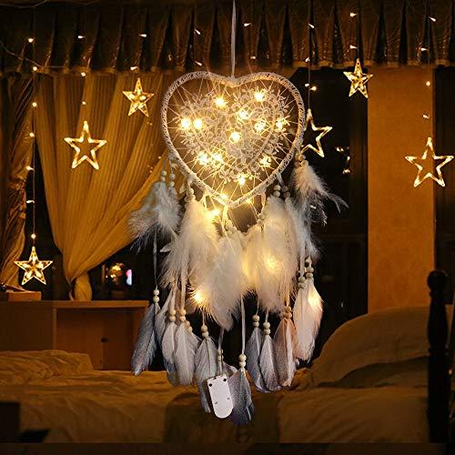 RAILONCH Herz Traumfänger Boho-Stil Handgefertigt LED Licht Wandbehang Romantische Dekoration (Weiß,Mit Lichtern)