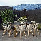 Amazonia Berwyn 9-Piece Outdoor Rectangular Dining Table Set   Eucalyptus Wood   Ideal for Patio and Indoors