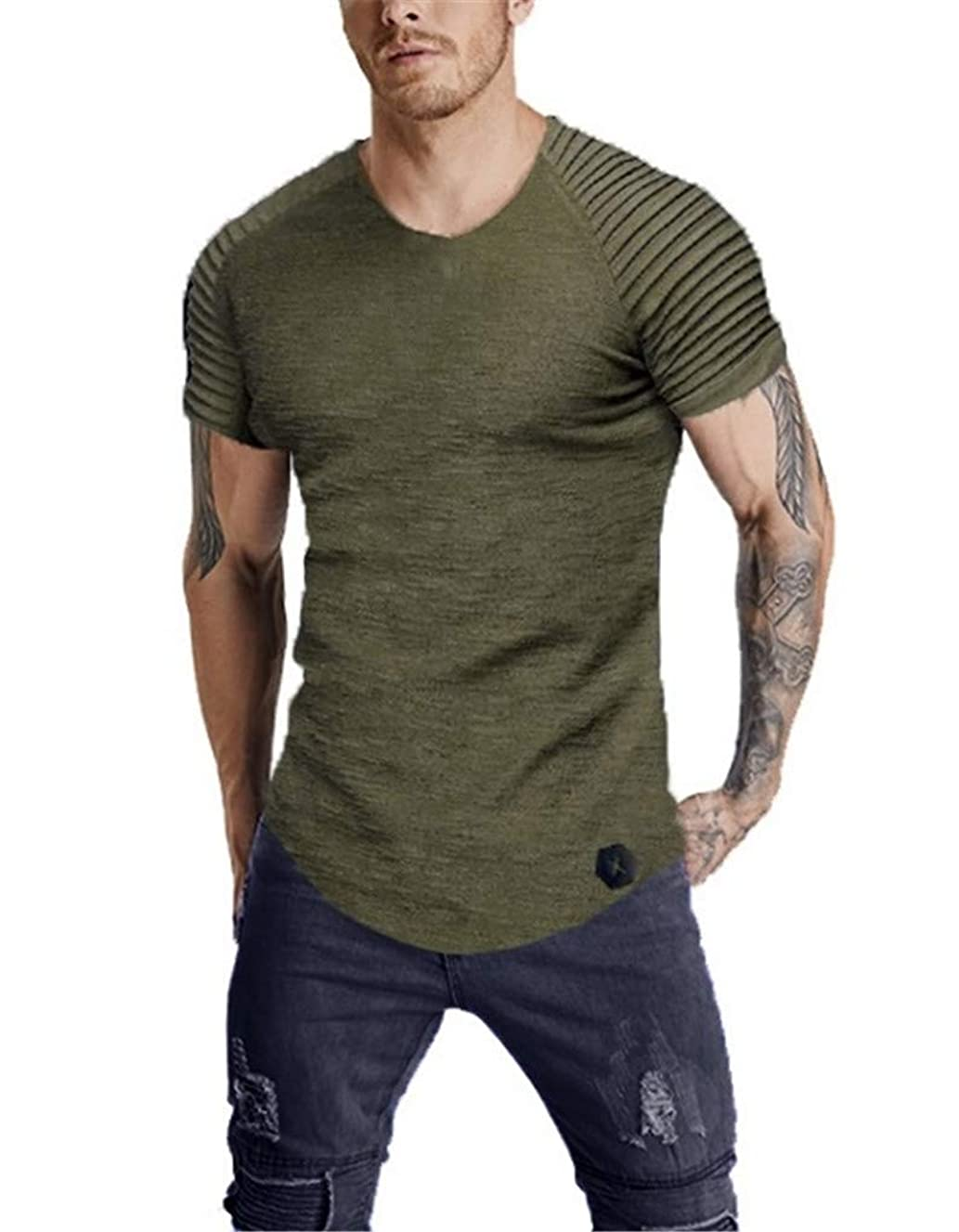 Fenxxxl Mens Casual Slim Fit Short Sleeve Solid Color Classic T-Shirts Basic Tee Running Tops