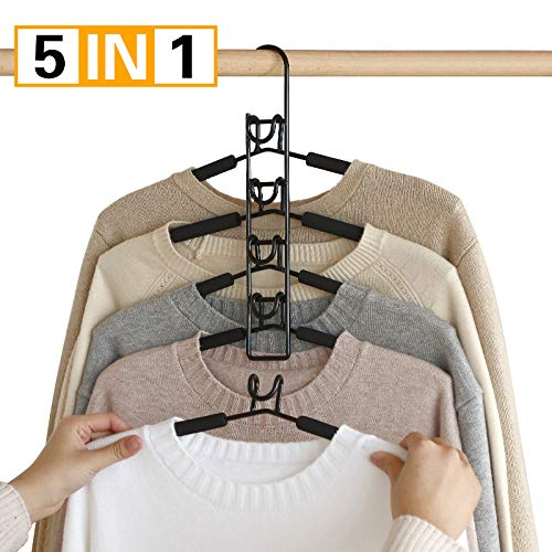 PUPOUSE Hangers Space Saving, 5 in 1 Non-Slip Metal Magic Clothes Hanger Wide Shoulder Multifunctional Adult Clothes Rack for Household Space Saver, Coat Suit Jacket Sweater Skirt Shirt Pants