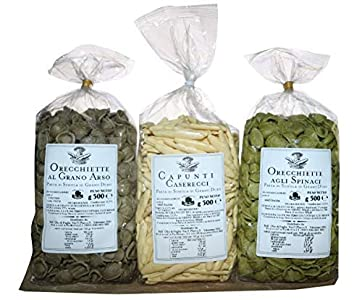 TRIS Pasta Tricolore. Orecchiette con chile picante. Hojas de Oliva con Spinach. Trigo Duro Semolina Capunti. Pasta artesanales