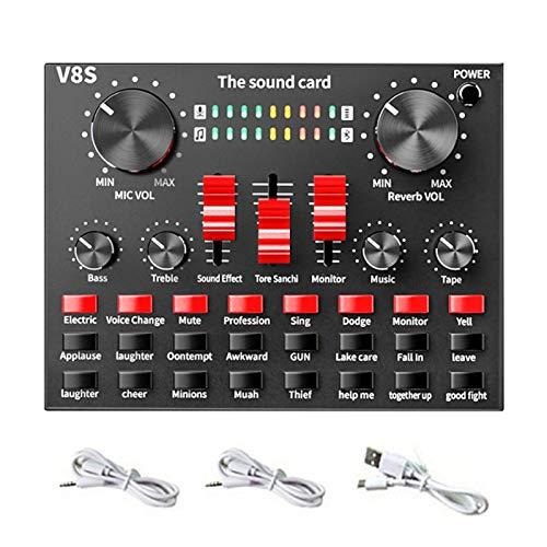 FLOX Bluetooth Mini Sound Card Mixer voor Live Streaming, Voice Changer Sound Card met Effecten, Audio Mixer voor mobiele telefoon computer synchrone live