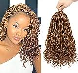 Boho Box Braids Crochet Hair 14 inch 8 Packs...