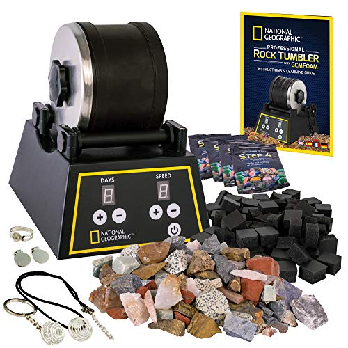 NATIONAL GEOGRAPHIC Professional Rock Tumbler Kit - Complete Rock Polisher Kit with Shutoff Timer & Speed Control, Reduced-Noise Operation, Rocks, Grit, GemFoam Finish, Cool Toys, Great STEM Hobby Kit