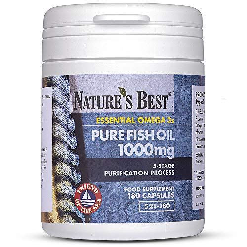 Pure Fish Oil 1000mg - One-A-Day - Essential Omega 3s - High Level of EPA & DHA - 180 Capsules