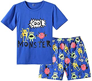Image of Blue Cool Monsters Pajama Shorts Set for Boys - See More Designs
