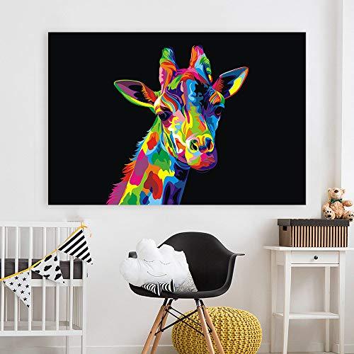 Pop Canvas Art schilderij van de kleurrijke Giraffe muur foto's voor woonkamer Home Decor Posters en Prints B 30x45cm geen frame