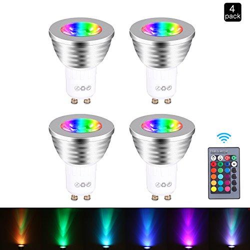GU10-Lampadina RGB LED Lampada Faretto - Lampadine GU10 Colorate Cambiare Colore Telecomando Dimmerabile, 16 Scelte di Colore, 3W, AC95V-240V