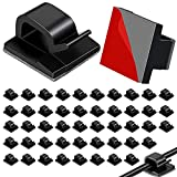 Cable Clips, 50pcs Upgraded Cable Straps with Strong Adhesive Tapes, Wire Clips, Cord Organizer, Wire Organizer, Cord Holder, Wire Management for Car, Office and Home(Black)