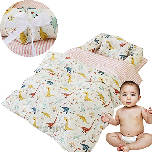 Brandream Boys Baby Bassinet Bed Dinosaur Newborn Lounger Infant Toddler Portable Crib Nest Bed 3 Pc Cot Co Sleeping Sharing Bed with Comforter