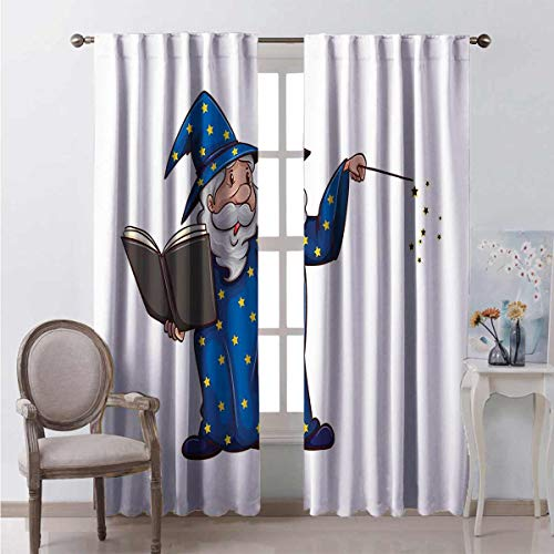 Sorcerer Man Book Spell Bedroom Darkening Curtains Create a More Comfortable Atmosphere The Best Choice for Bedroom and Living Room W84 x L96  Great for Living Room and Bedroom