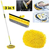 63'' Car Wash Brush Kits with Aluminum Long Handle, 3 in 1 Car Wash Mop Windshield Squeegee Car Cleaning Mop Duster Chenille Microfiber Wash Mop Mitt 180°Rotation for Cleaning Car Truck RV Home