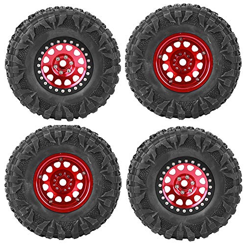 Buje de Rueda de Coche con Control Remoto, 4 Piezas 2,2 Pulgadas de Goma y aleación de Aluminio RC Crawler Neumático de Coche Cubo de Rueda Accesorio Apto para Coche RC 1/10(Rojo)