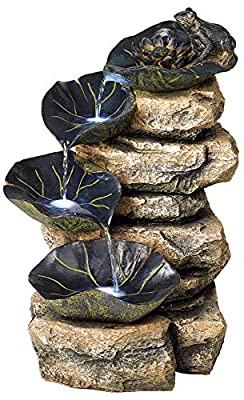 "John Timberland Frog and Four Lily Pad Rustic Outdoor Floor Water Fountain with Light LED 21"" High Stacked Rock Cascading for Yard Garden Patio Deck Home"