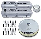 Proform 302-510 Chrome Engine Dress-Up Kit with Black Ford Racing Logo for Ford 289-351 Wi...