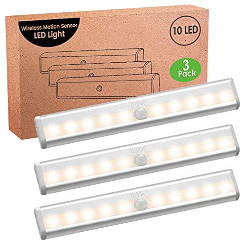 Luz Armario Sensor Movimiento Pilas, 3 Piezas 3000K Luces LED Cocina Bajo Mueble Sin Cable Regleta LED Sensor Con Tira Magnética Adhesiva Luz Nocturna LED Inalámbrica Para Escaleras Interiores Pasillo