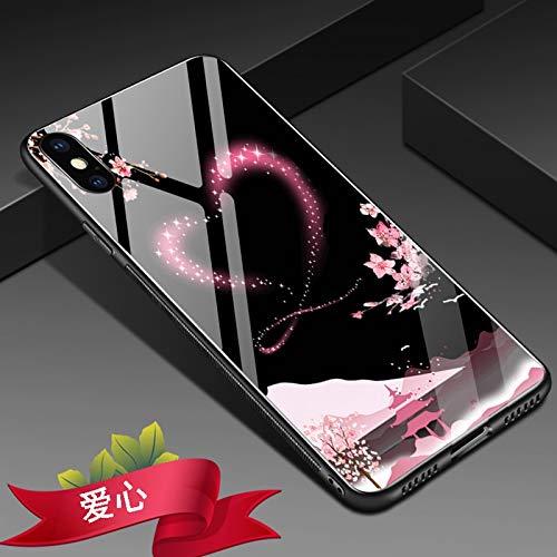 Hoesjes iPhone X hoesje, Rose Flower hoge hakken hart schilderij 9H gehard glas Back Cover [krasbestendig]& zachte TPU siliconen binnenste beschermhoes voor iPhone X, 5