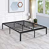 KINGSO Foldable Full Bed Frame, 14 Inch Heavy Duty Metal Platform Bed Frame with High Extra for Under Bed Storage, Steel Slat and Anti-Slip Support, No Box Spring Needed- Full