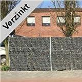 Gabione / Höhe 163cm / Länge 27,5 Meter / Verzinkt / gabionen-verzinkt-163-27.5 / Sichtschutz Trennwand Steinkorb Mauergitter Steinzaun Gabionen Drahtkorb