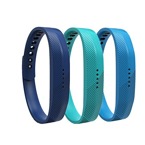 WEINISITE Pulsera de silicona Banda de Reemplazo Correa para Fitbit Flex 2 (Set 4, L)