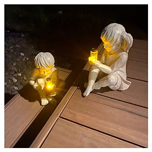 Garden Children Solar Lighted Firefly Jar Boy Girl Statue Whimsical Flowerbed Yard Outdoor Sculpture Decor (Boy and Girl)