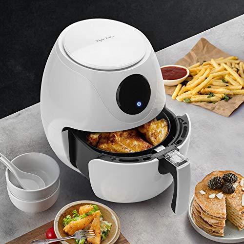 Taylor Swoden Eva - Freidora de aire sin aceite, 1200W, tamaño compacto: 2.6 litros, pantalla LED, panel táctil, 6 programas automáticos. Libre de BPA. Color blanco.