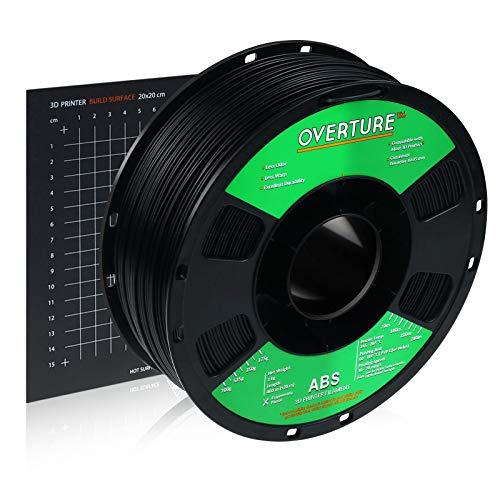 OVERTURE ABS フィラメント ABS 3Dプリンター用素材 3D印刷 3Dプリンター フィラメント 1.75mm 1kgスプール 高い寸法精度 高密度 環境保護 ビルドサーフェス付き ほとんどのFDMプリンターに適合(ブラック)