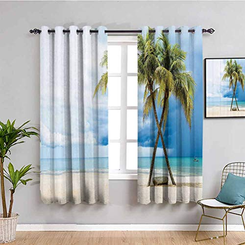 Hawaiian Decorations Wärmedämmung Vorhang Wolkenhimmel Boot im Meer Palmen Sandstrand Thailand Meereslandschaft Bild Wasserdicht Stoff Grün Blau W63 x L63 Zoll