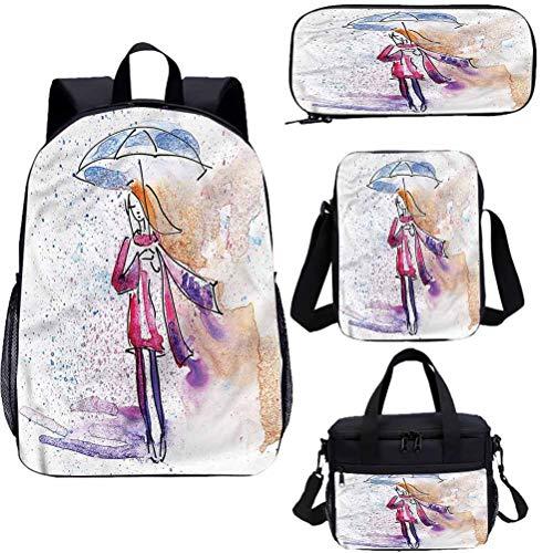 Juego de bolsas de almuerzo de 15 pulgadas de acuarela para libros escolares, Doodle Young Girl Rainy 4 en 1 conjuntos de mochila