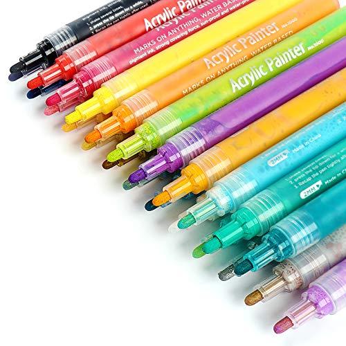 Acrylstifte Marker Stifte Set, ANYUKE 24 Wasserbasis Acrylfarben Stift zum Steine Bemalen Holz Glas...