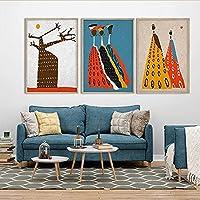 WYAM アフリカの芸術絵画現代の家の装飾アフロフィギュアプリントアフリカの民族ポスターアフリカの色バオバブの木の壁の写真50x70cmx3フレームなし