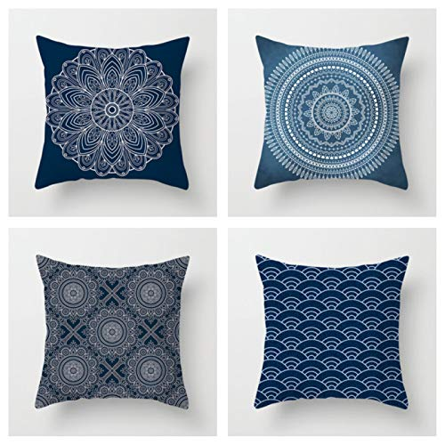 Mandala Blue And White Porcelain Series Cushion Cover Polyester Pillow Case Home Decorative Pillows Cover For Sofa Car No.5