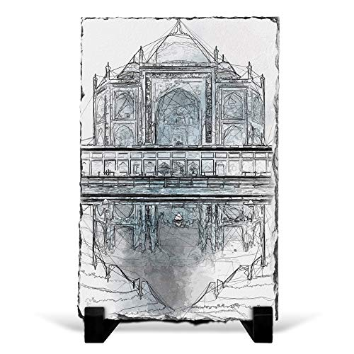 Big Box Art The Taj Mahal in Agra India Abstract Sketch - Slate Rock Picture Frame Home Décor Ornament - 20x15 cm