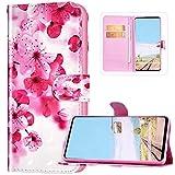 JAWSEU - Custodia a portafoglio in pelle PU per Huawei Y5 2019/Honor 8S, Fiore rosa.