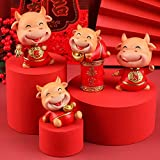 L.TSN Feng Shui Ox 2021 Estatuas y estatuillas, Escultura Coleccionable de Resina del año del Toro del Zodiaco Chino Decoración Interior del Coche Mini muñeca Buey Adornos de año Nuevo, Juego