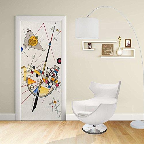 Adesivo Design porta - Kandinsky Tensione Delicata - Delicate Tension Decorazione adesiva per porte arredo casa (CM 90X210)