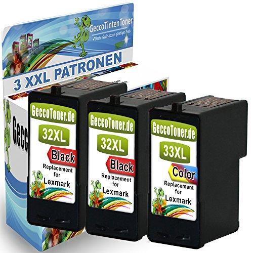 3er Set Druckerpatronen Als Ersatz für Lexmark 32 XL + 33 XL für Lexmark Z810 Z815 X3310 X3330 X3340 X5210 X5250 X5470 X7170 X7350 X71170 X7300