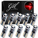 GLL 10pcs Rosso T5 Lampadine a LED 74 70 37 17 2721 3528 LED 1-3030-SMD Ricambio per Tachimetro Interno Auto Cruscotto Indicatore Strumento Cluster Indicatore Luminoso Pannello Cruscotto